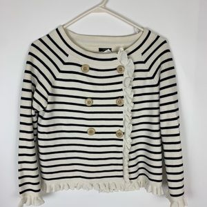 J.Crew blue striped knit double breasted jacket